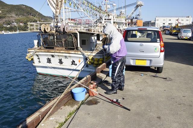 対馬の久田桟橋での釣り